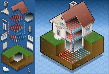 Geothermal heat pump/underfloorheating diagram