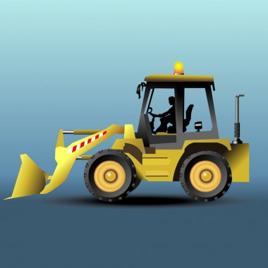 Yellow bulldozer in side view