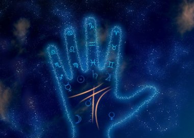 Glowing palm with astrological symbols on space background