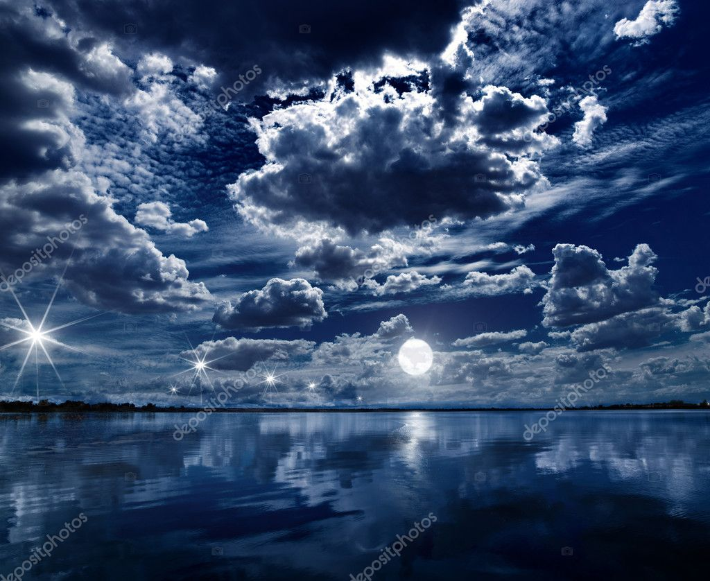 Moon on the Ocean surface