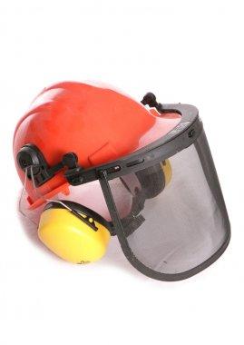 Orange workers helmet and ear protectors cutout