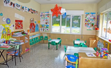 Interior of a playroom a nursery kindergarten school
