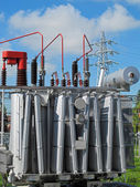 Electrical transformer to a powerhouse with switches, disconnect