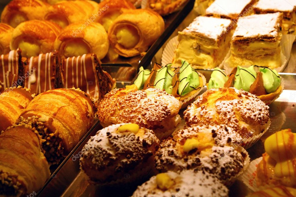 Pastries and cakes with briosches vanilla cream and chocolate