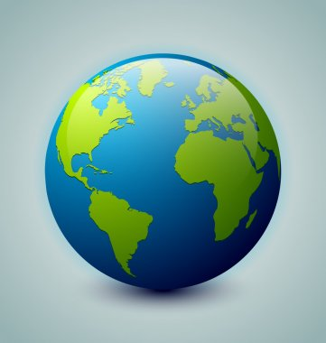 Glossy Earth icon isolated on background stock vector
