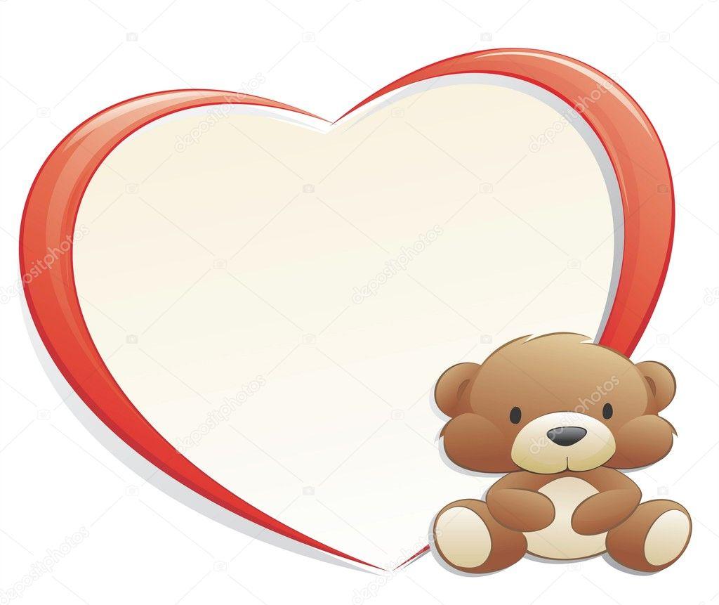 Teddy Bear with Heart Frame — Stock Vector © mumut #9224143