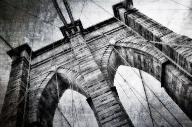 Brooklyn bridge detail view vintage black and white