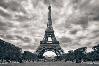 Eiffel tower with dramatic sky monochrome black and white
