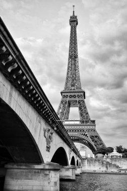 Eiffel tower view from Seine river under the bridge