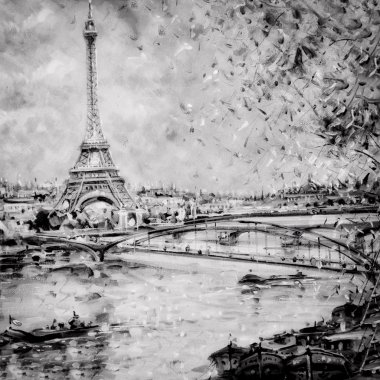 Black and white illustration of Eiffel tower in Paris