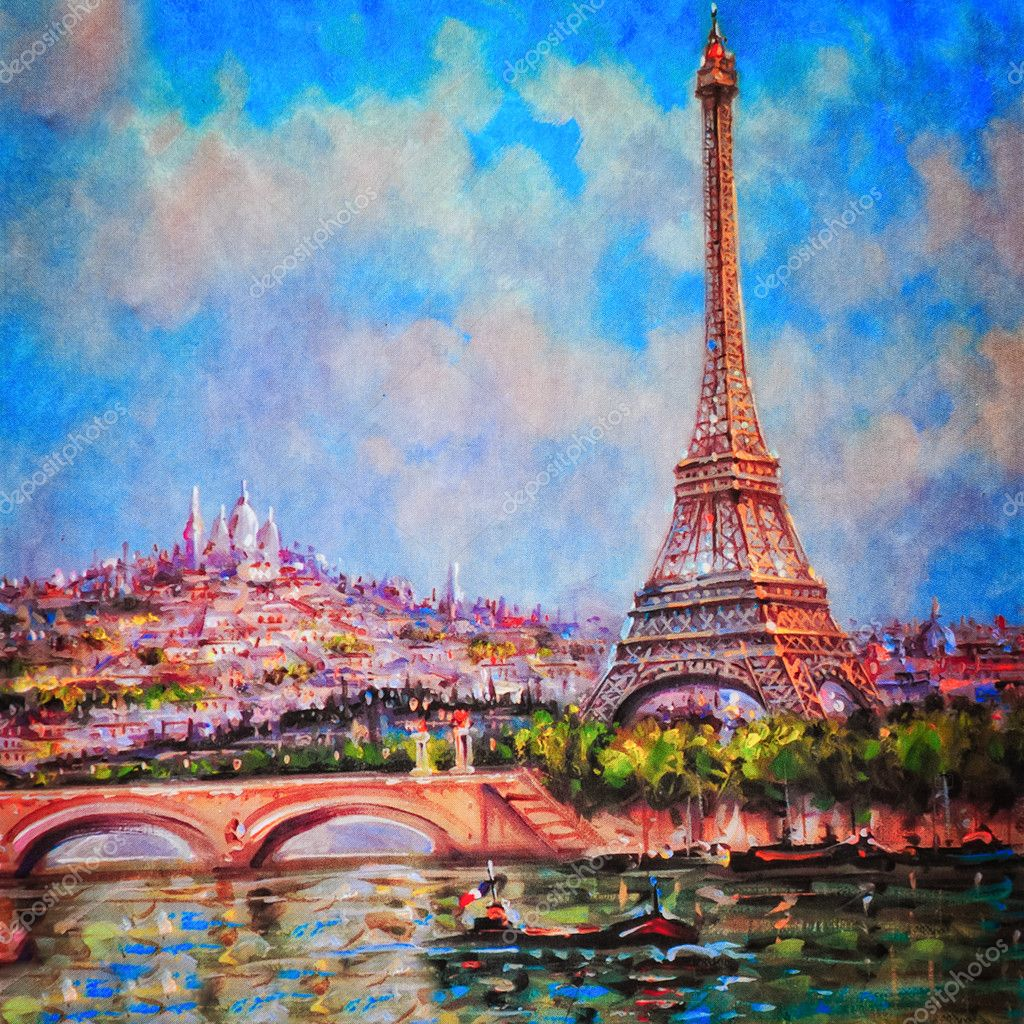Colorful painting of Eiffel tower and Sacre Coeur in Paris