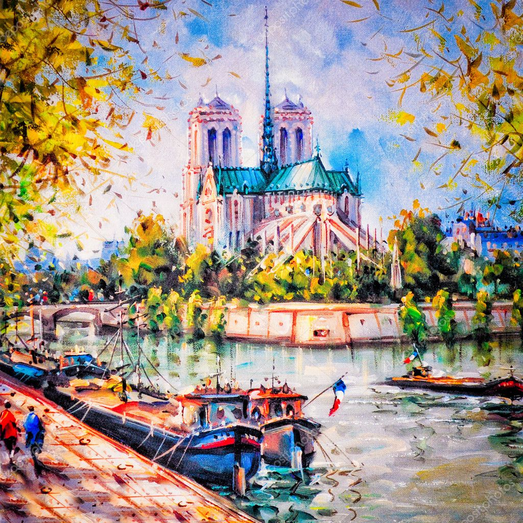 Colorful painting of Notre Dame in Paris