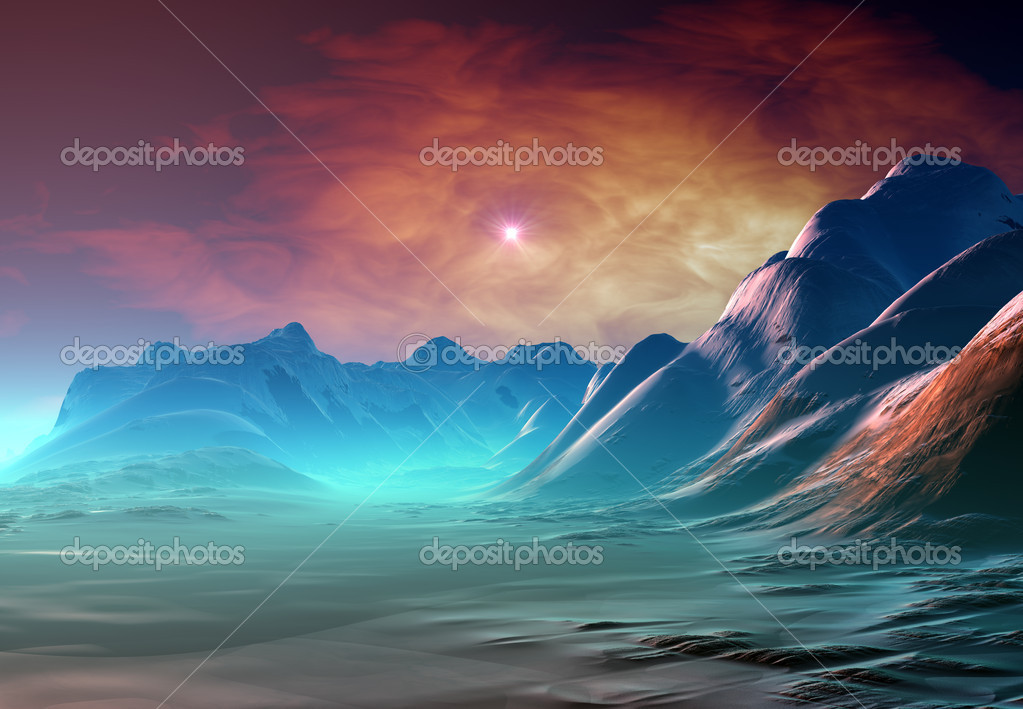 Fantasy Planet with Mystic Background