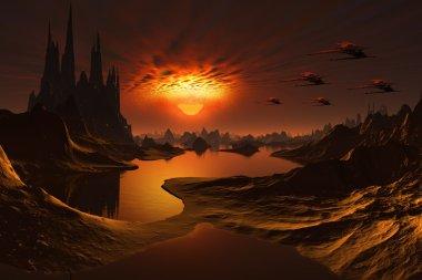 Alien World with Spaceships