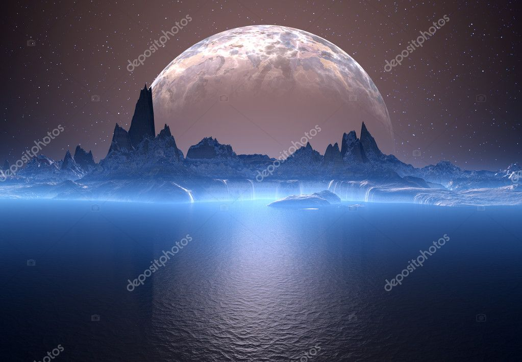 Alien Planet with Moon