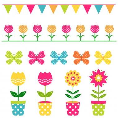 Spring design elements set