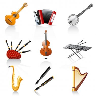 Set of 9 colorful musical instruments. clip art vector