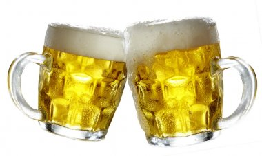 Pair of beer glasses making a toast.