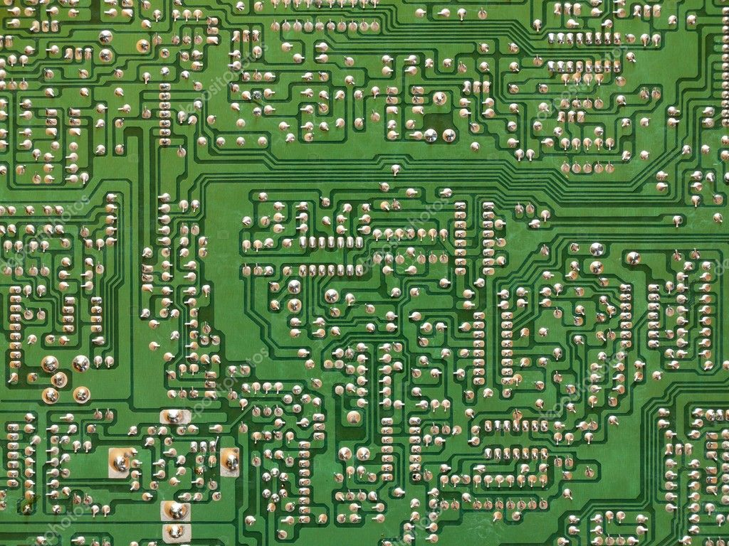 Green printed circuit board of electronics - PCB — Stock ...