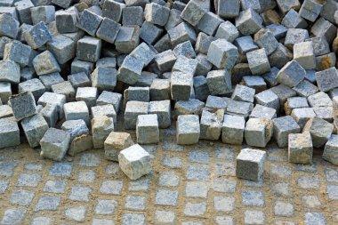 Blocks of granite stored