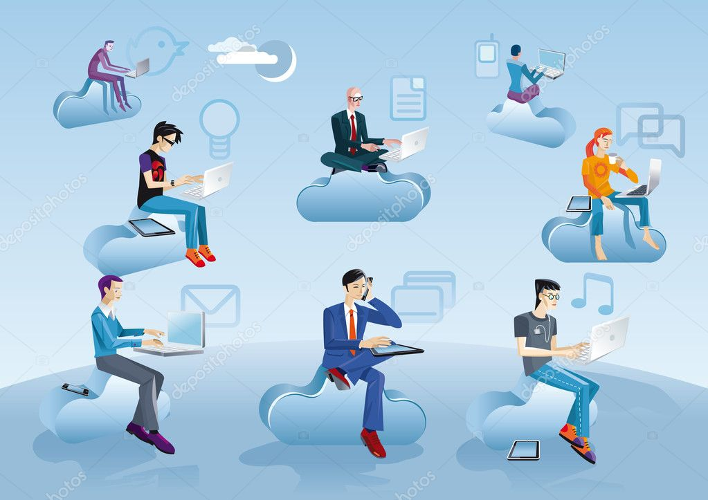Cloud Computing Men Sitting In Clouds With Icons