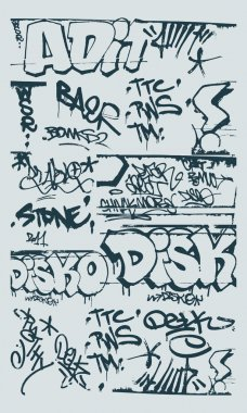 Set of abstract graffiti on the walls of the street