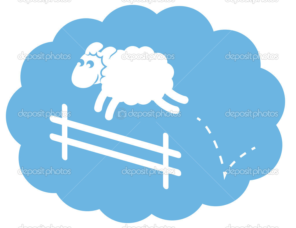 White Sheep Jumping Fence