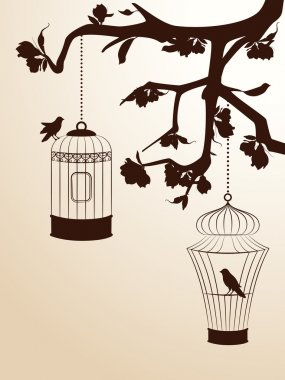 Vintage background with birdcages and birds