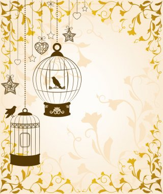 Vintage background with ornamental birdcages and birds