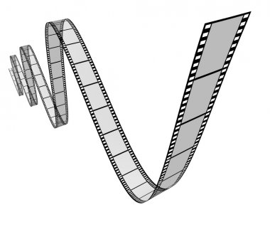 Film movie frames in a dynamic 3d twisted shape on white background representing cinema and motion pictures directing as a digital film industry symbol with a s stock vector