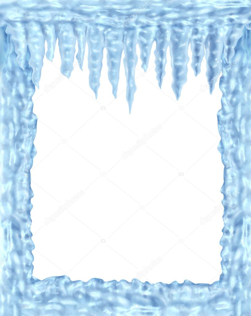 Frozen ice and icicles frame — Stock Photo © lightsource #7976915