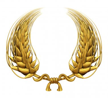 Gold laurel wreath of golden wheat representing an award and success of winning and a certified achievement as a decorative element made of twisted 3d wheat gr stock vector