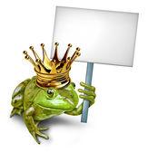 Fotografia principe ranocchio con un cartello bianco