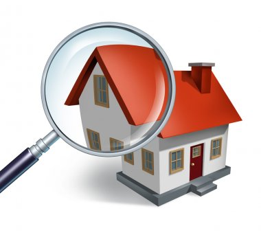 House hunting and searching for real estate homes for sale that need to be inspected by a home inspector concept as a magnifying glass inspecting a model singl stock vector