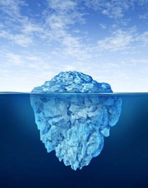 Iceberg floating in cold arctic ocean water with a small part of the frozen ice mountain above sea and a huge much larger peice of the freezing snow under the w stock vector