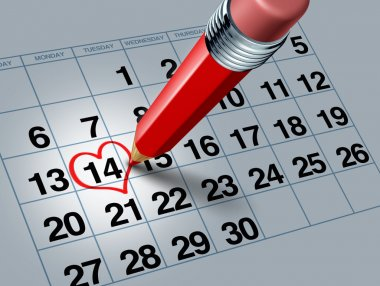 Kırmızı kalem ile Sevgililer günü takvimi