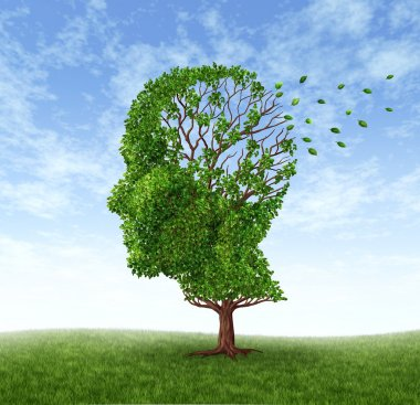 Memory loss due to Dementia and Alzheimer's disease with the medical icon of a tree in the shape of a human head and brain losing leaves. stock vector