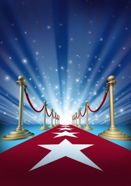 Red carpet to the movie stars with an entertainment theater design background with gold roped barriers and radiating spot lights with shiny sparkles as a symbol of an important event with cinematic and theatrical fun. stock vector