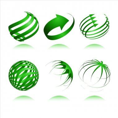 Set of 3d abstract vector sphere element clip art vector