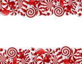 rám vyrobený z červené a bílé bonbony