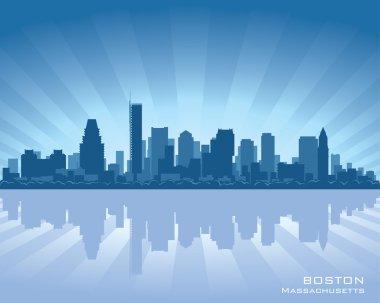 Boston, Massachusetts skyline illustration with reflection in water clip art vector