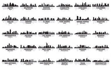 Incredible set of USA city skyline. 30 cities.