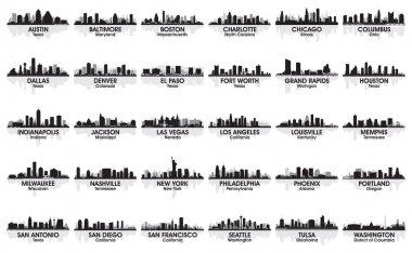 Incredible set of USA city skyline. 30 cities. stock vector