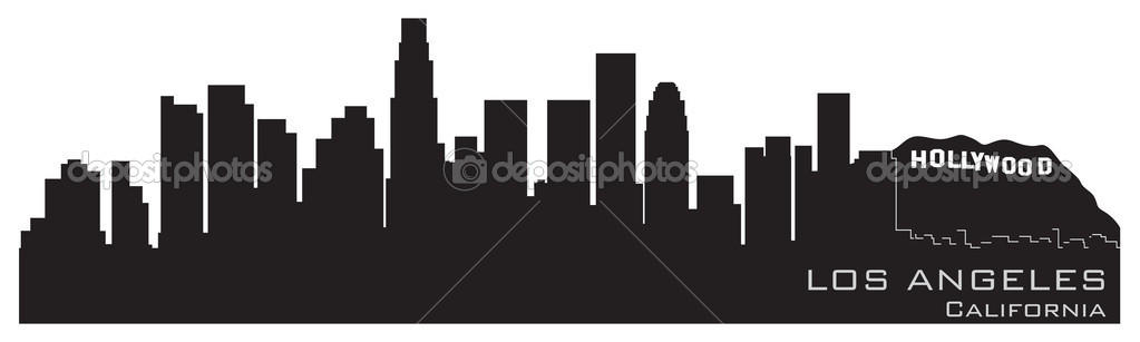 los angeles california skyline detailed vector silhouette royalty free stock illustrations