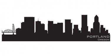 Portland, Oregon skyline. Detailed vector silhouette
