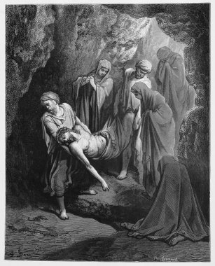 Jesus is buried in the sepulcher - Picture from The Holy Scriptures, Old and New Testaments books collection published in 1885, Stuttgart-Germany. Drawings by Gustave Dore. stock vector
