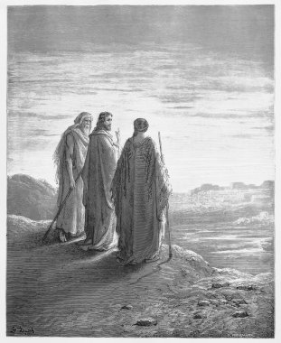 The disciples encounter Jesus on the road to Emmaus