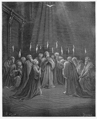 Descent of the Holy Spirit - Picture from The Holy Scriptures, Old and New Testaments books collection published in 1885, Stuttgart-Germany. Drawings by Gustave Dore. stock vector