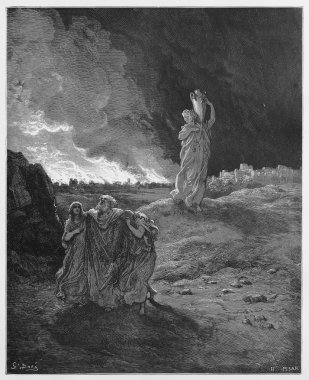 Lot and his family flee from Sodom