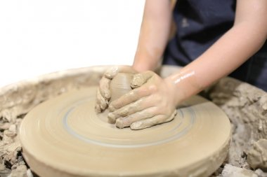 Molding clay and hands
